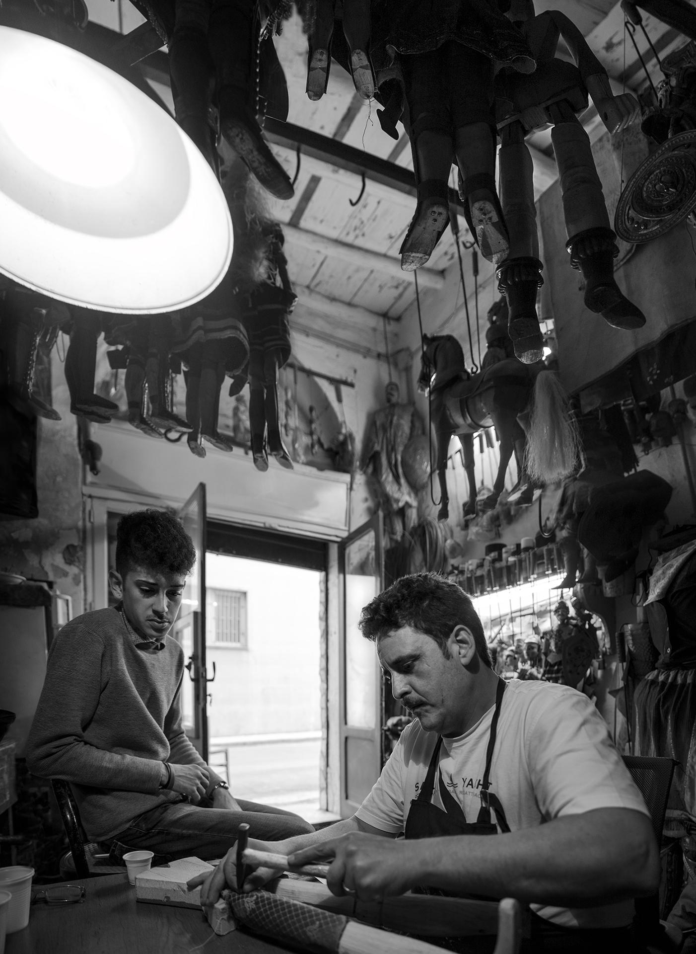 Palermo, laboratorio del puparo Enzo Mancuso, 2017