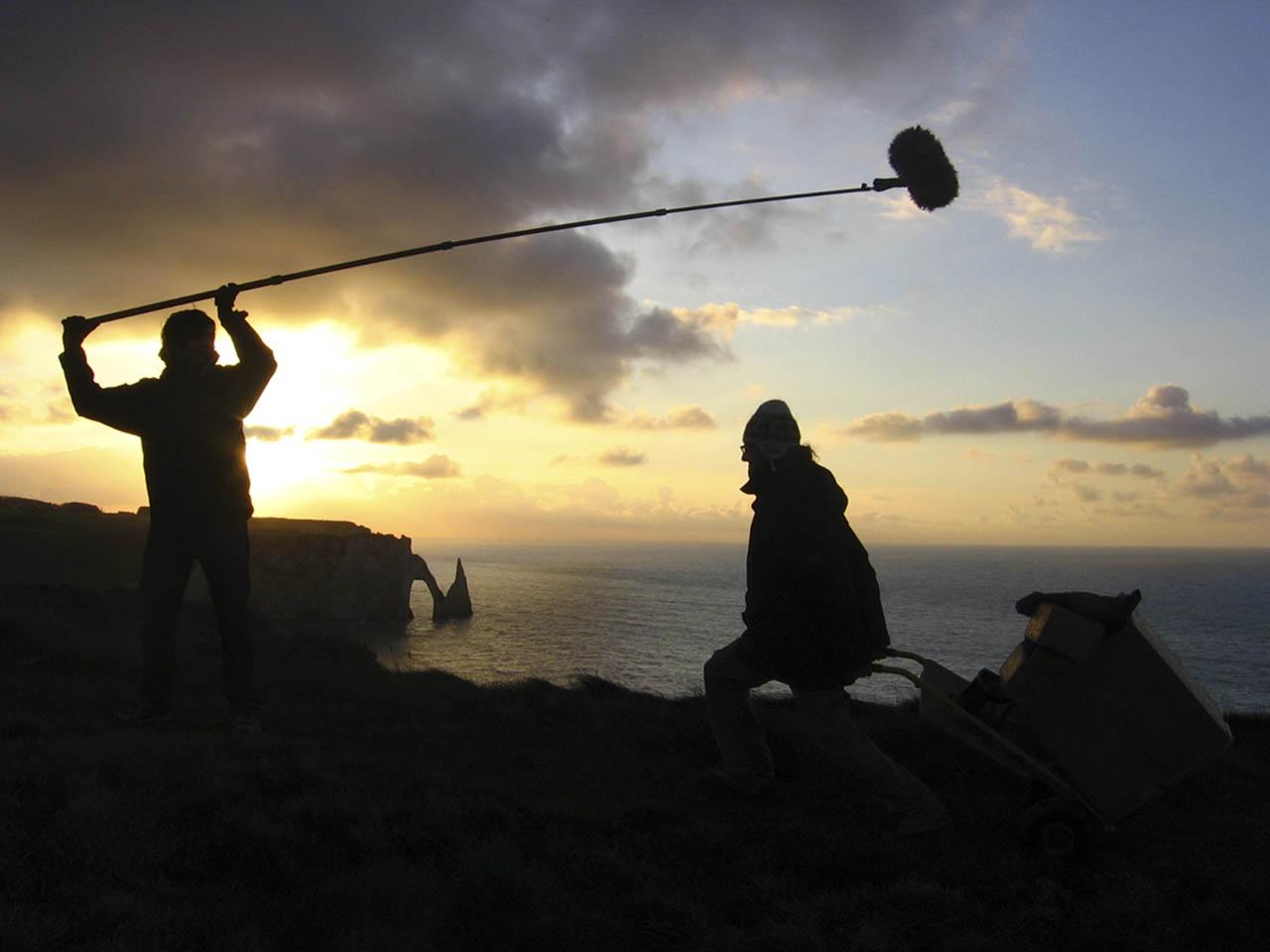 Tournage de L'Histoire du pêcheur, Etretat, novembre 2008